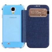 Blue for Samsung Galaxy S 4 I9500 Smart View Oracle Texture Leather Cover