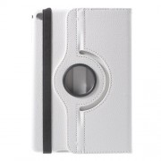 For iPad mini 4 Lychee 360-Rotation Stand Leather Tablet Case - White