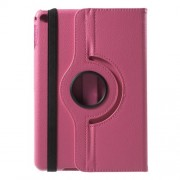 For iPad mini 4 Lychee 360-Rotation Stand Leather Tablet Cover - Rose