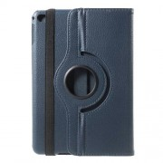 For iPad mini 4 Lychee 360-Rotation Stand Leather Protective Case - Dark Blue