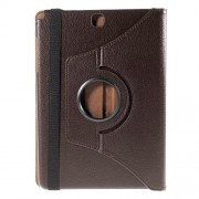 For Samsung Galaxy Tab A 9.7 T550 T555 Lychee Leather Cover with Rotary Stand - Coffee