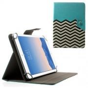 Δερμάτινη Θήκη Βιβλίο με Βάση Στήριξης για Samsung Galaxy Tab 4 7.0 Τ230 / Amazon Fire HD 7 (20,3 x 14cm) και Άλλα Tablets με Αυτές τις Διαστάσεις - Μπλε με Μαυρόασπρες Ρίγες Ζιγκ-Ζακ