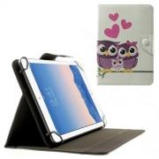 Δερμάτινη Θήκη Βιβλίο με Βάση Στήριξης για Samsung Galaxy Tab 4 7.0 Τ230 / Amazon Fire HD 7 (20,3 x 14cm) και Άλλα Tablets με Αυτές τις Διαστάσεις - Ερωτευμένες Κουκουβάγιες