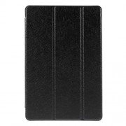 For iPad mini 4 Tri-Fold Stand Smart Leather Case Cover Silk Texture - Black