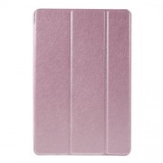 Tri-Fold Stand Leather Smart Case for iPad mini 4 with Silk Texture - Pink