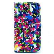 Δερμάτινη Θήκη Πορτοφόλι με Βάση Στήριξης για Samsung Galaxy S4 I9500 I9505 - Πολύχρώμα Γεωμετρικά Σχέδια