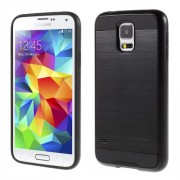 Brushed Plastic + TPU Phone Case for Samsung Galaxy S5 G900 / S5 Neo G903F - Black