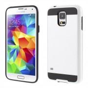 Θήκη Σιλικόνης TPU σε Συνδυασμό με Πλαστικό (Όψη Μεταλλική) για Samsung Galaxy S5 G900 / S5 Neo G903F - Μαύρο/Λευκό