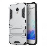 PC TPU Hybrid Cover for Meizu M3 Note/Blue Charm Note3 with Kickstand - Silver