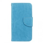 Crazy Horse Leather Wallet Case Cover for Microsoft Lumia 550 - Blue