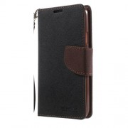 NEWSETS MERCURY Δερμάτινη Θήκη Πορτοφόλι με Βάση Στήριξης για Samsung Galaxy S5 G900 / S5 Neo - Καφέ/Μαύρο