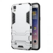 Υβριδική Θήκη Συνδυασμού Σιλικόνης TPU και Πλαστικού με Βάση Στήριξης για LG X Power - Ασημί