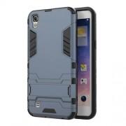 Υβριδική Θήκη Συνδυασμού Σιλικόνης TPU και Πλαστικού με Βάση Στήριξης για LG X Power - Σκούρο Μπλε