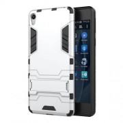 Θήκη Σιλικόνης TPU σε Συνδυασμό με Πλαστικό και Βάση Στήριξης για Sony Xperia E5 - Ασημί