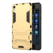 Hybrid Plastic + TPU Case with Kickstand for Sony Xperia E5 - Gold