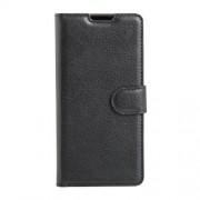 Δερμάτινη Θήκη Πορτοφόλι με Βάση Στήριξης (Όψη Grain) για Sony Xperia E5 - Μαύρο