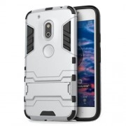 PC TPU Hybrid Back Case for Motorola Moto G4 Play with Kickstand - Silver