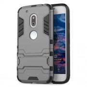 Θήκη Συνδυασμού Σιλικόνης TPU και Πλαστικού με Βάση Στήριξης για Motorola Moto G4 Play - Γκρι