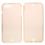 Θήκη Σιλικόνης TPU με Πρόσοψη TPU Ημιδιάφανη (2 τεμάχια) για iPhone 7 Plus / 8 Plus - Ροζέ Χρυσαφί