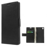 Black Crazy Horse Leather Magnetic Case w/ Stand for Sony Xperia Z3 D6603 D6653