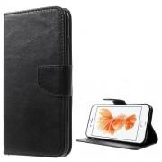 Δερμάτινη Θήκη Πορτοφόλι με Βάση Στήριξης για iPhone 7 Plus / 8 Plus - Μαύρο