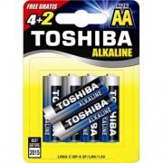 Toshiba Αλκαλικές Μπαταρίες  LR6 AA 1,5V BP4+2 Δώρο