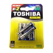 Toshiba Αλκαλικές Μπαταρίες ΑΑΑ 1.5V LR03 BP4+2 Δώρο