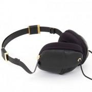 Molami Pleat Στερεοφωνικά Ακουστικά με Μικρόφωνο - Γνήσιο Δέρμα Μαύρο με Χρυσές Μεταλλικές Λεπτομέρειες