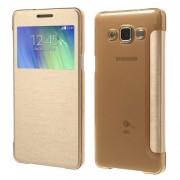 Δερμάτινη Θήκη Βιβλίο Smart Cover για Samsung Galaxy A5 SM-A500F - Χρυσαφί