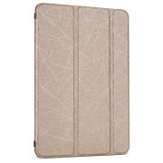 Random Lines Grain Smart Leather Cover for iPad Mini 3 / 2 / 1 with Stand - Gold