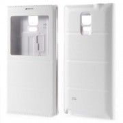 View Window Leather Flip Battery Door Cover for Samsung Galaxy Note 4 N910 - White