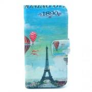 Δερμάτινη Θήκη Πορτοφόλι με Βάση Στήριξης για  Samsung Galaxy S4 mini I9190 -  Πύργος του Άιφελ και Αερόστατα σε Μπλε Φόντο