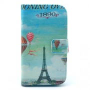 Eiffel Tower and Fire Balloon Leather Shell w/ Wallet and Stand for Samsung Galaxy S3 I9300
