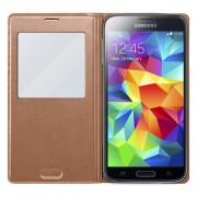 Δερμάτινη Θήκη Βιβλίο Smart Cove με Ενσωματωμένο Καπάκι Μπαταρίας για Samsung Galaxy S5 G900 - Καφέ Ροζ Χρυσαφί