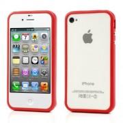 Θήκη Bumper Πλαστικό με Σιλικόνη TPU για iPhone 4 4S - Κόκκινο