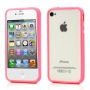 Θήκη Bumper Πλαστικό με Σιλικόνη TPU για iPhone 4 4S - Ροζ