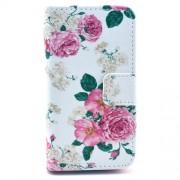Δερμάτινη Θήκη Πορτοφόλι με Βάση Στήριξης για iPhone 4 4s - Φούξια Τριαντάφυλλα σε Λευκό Φόντο