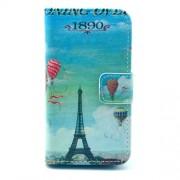 Δερμάτινη Θήκη Πορτοφόλι με Βάση Στήριξης για iPhone 4s 4 - Πύργος του Άιφελ και Αερόστατα σε Μπλε Φόντο