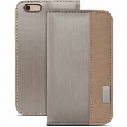 Moshi Overtune Leather Wallet Stand Case for iPhone 6 Plus / 6s Plus (99MO052242) - Brushed Titanium