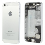 Metal for iPhone 5 Rear Back Housing Faceplate Assembly w/ Other Parts - White / Silver
