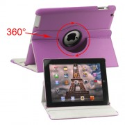 360 Degree Rotating New iPad 2 3 4 Leather Case Cover with Stand - Purple
