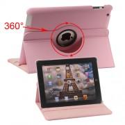 Περιστρεφόμενη Δερμάτινη Θήκη Βιβλίο με Βάση Στήριξης για iPad 2 3 4 - Ροζ