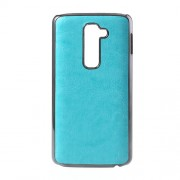 For LG G2 D801 D802 Plastic Cover Chrome Crazy Horse Leather Skin - Blue