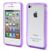 Purple for iPhone 4 4S Soft TPU Translucent Bumper