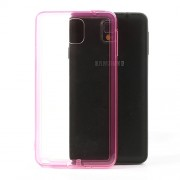 Transparent Acrylic Back TPU Frame Hybrid Cover for Samsung Galaxy Note 3 N9005 w/ Dust-proof Plug - Rose