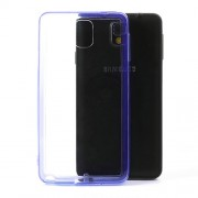 Transparent Acrylic Back TPU Frame Hybrid Shell for Samsung Galaxy Note 3 N9000 w/ Dust-proof Plug - Purple