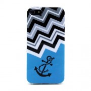 Protective TPU Gel Case for iPhone 5s 5 - Chevron Stripe & Nautical Anchor