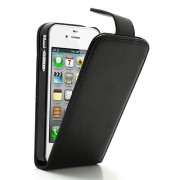 Black Magnetic Vertical Flip Leather Case Cover w/ Card Slot for iPhone 4 4S