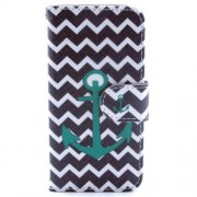 Black Chevron Stripe & Anchor Leather Stand Shell w/ Card Slots for iPhone 5s 5