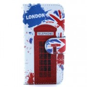 Telephone Booth Pattern Wallet Leather Cover Shell w/ Stand for iPhone 5s 5
